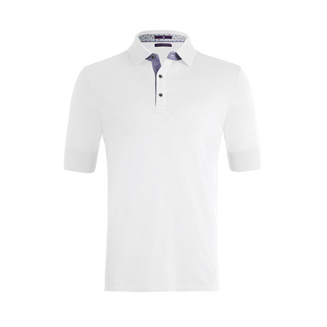 Johnby Solid Short-Sleeve Polo Shirt // White