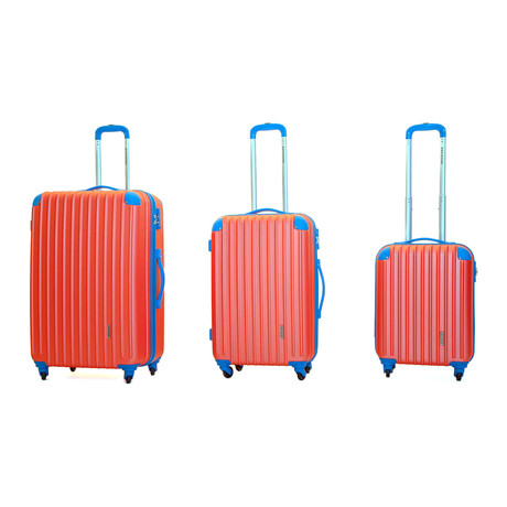 Luna Hardshell Trolley // Set of 3 // Coral + Blue