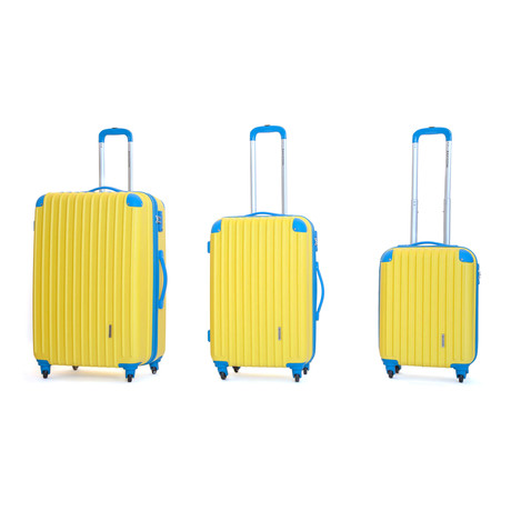 Luna Hardshell Trolley // Set of 3 // Yellow + Blue