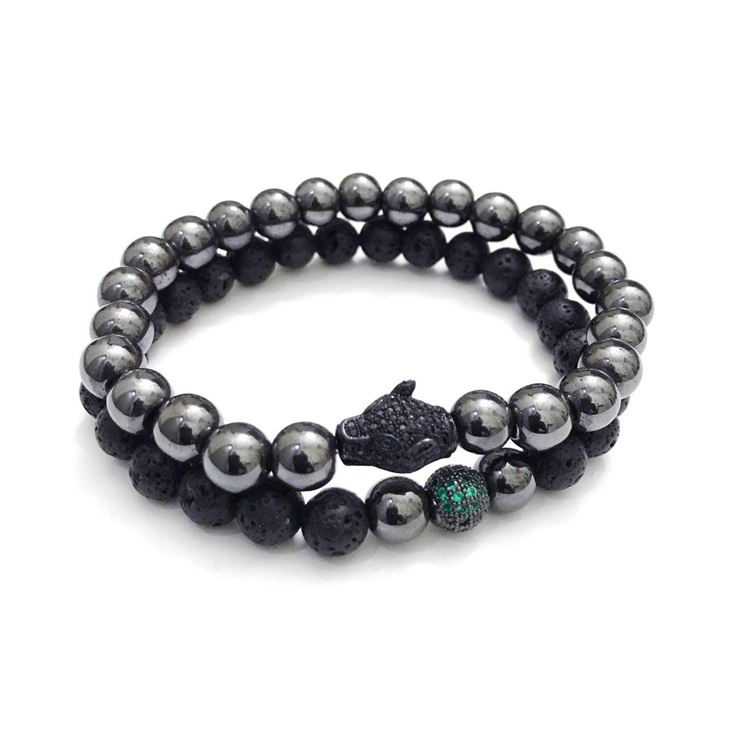 lava black large leather beaded bracelet bracelets panther stack hematite mixed sales the petite