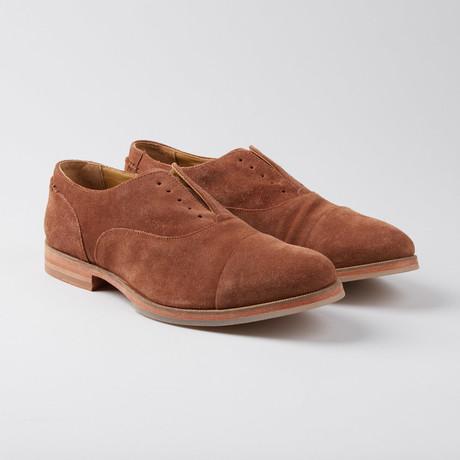 Baily Laceless Cap-Toe Oxford // Brandy