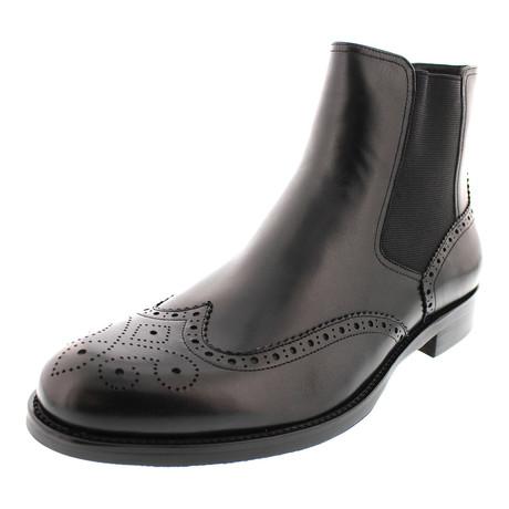 Durango Wing-Tip Brogue Chelsea Boot // Black