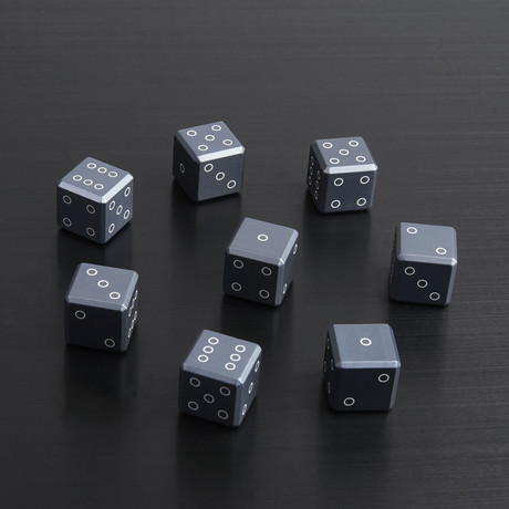 Lasered Gun Metal Dice // Set of 8