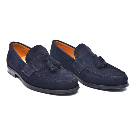 Rubber Sole Suede Tassel Loafer // Marino