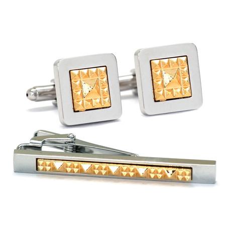 Ike Behar // Cufflink + Tie Bar Set // Silver + Gold