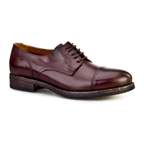 Savas Plain Toe Cap Brogue // Brown