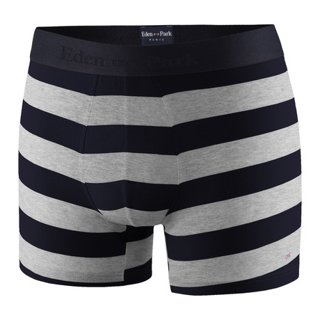 Wide Striped Boxer Brief // Black + Gray