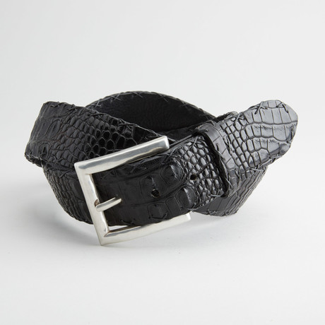 Matte Hornback American Alligator Leather Belt // Black