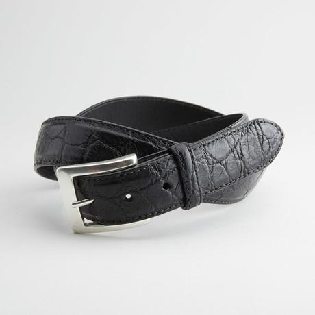 Matte American Alligator Leather Belt // Black