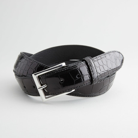 Glossy American Alligator Leather Belt // Black
