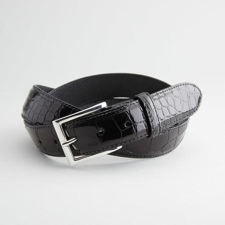 Glossy American Alligator Leather Belt // Black (32)