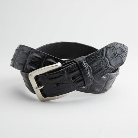 Matte Hornback Saltwater Crocodile Leather Belt // Black