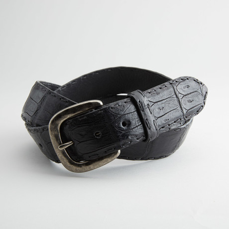 Matte Caiman Crocodile Tail Leather Belt // Black (32)