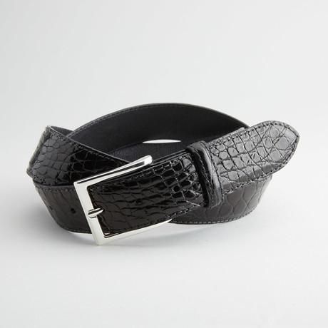 Caiman Crocodile Flank Leather Belt // Black (32)