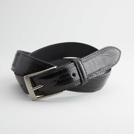 Glossy Lizard Leather Belt // Black