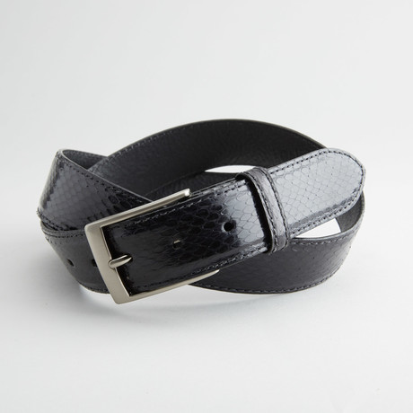 Glossy Anaconda Leather Belt // Black