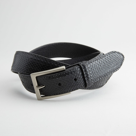 Matte Anaconda Leather Belt // Black