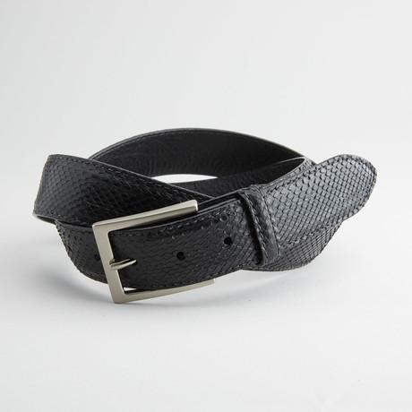Matte Anaconda Leather Belt // Black (32)
