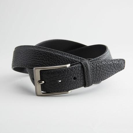 Bison Leather Belt // Black (32)