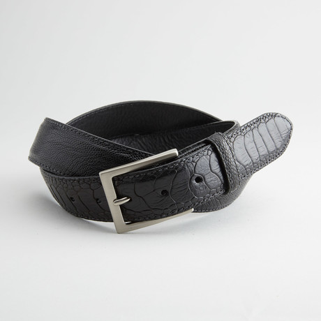 Ostrich Leg Leather Belt // Black