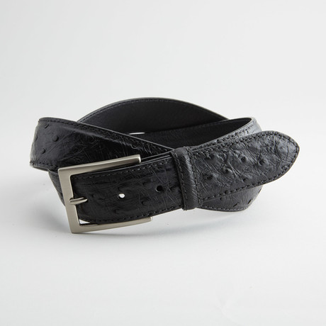 Ostrich Full Quill Leather Belt // Black (32)