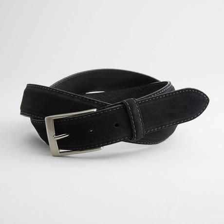Italian Suede Cow Leather Belt // Black (32)