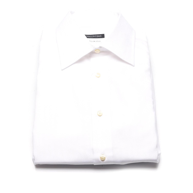 Herringbone weave slim fit dress shirt white us 18 for White herringbone dress shirt