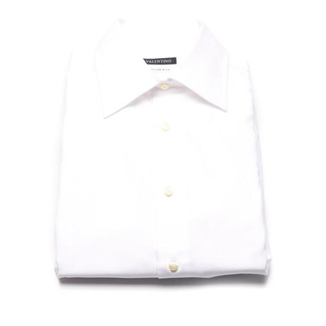 Herringbone Weave Slim Fit Dress Shirt // White