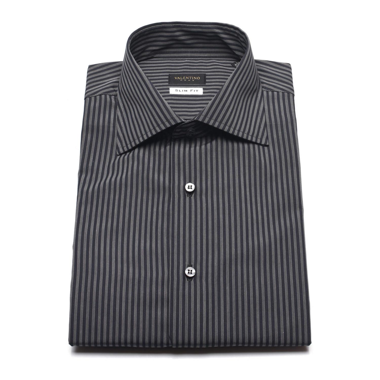 1761b90528 Textured Stripe Slim Fit Dress Shirt // Grey, Black (US: 15 ...