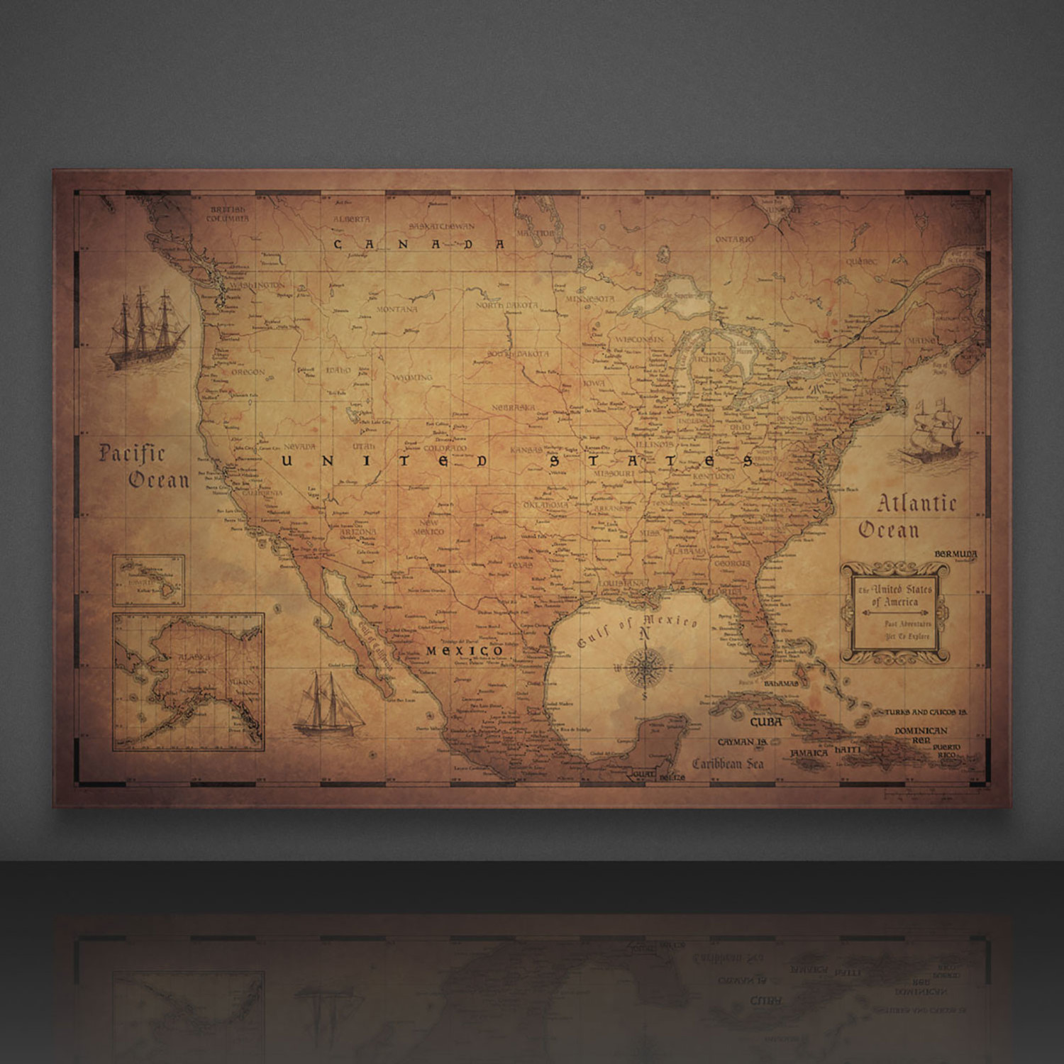 "USA Travel Map Pin Board // Golden Aged (24""W x 16""H x 1.25""D ..."