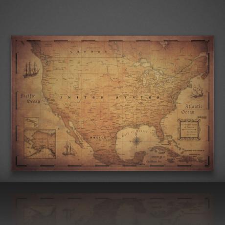 USA Travel Map Pin Board // Golden Aged