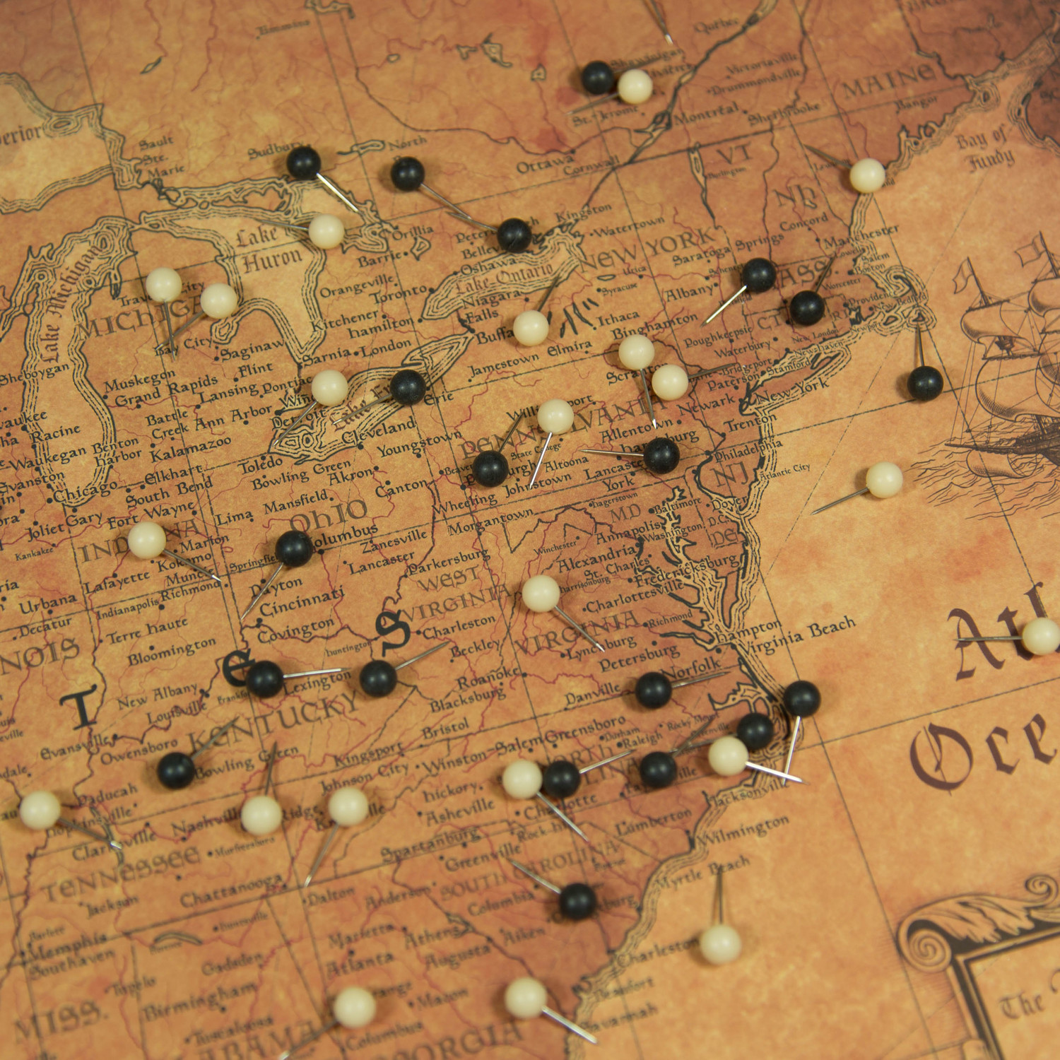 "USA Travel Map Pin Board // Golden Aged (36""W x 24""H x 1.25""D ..."
