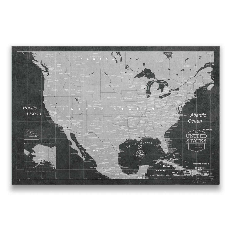 Usa travel map pin board modern slate 24w x 16h x 125d usa travel map pin board modern slate 24w x 16 gumiabroncs Gallery