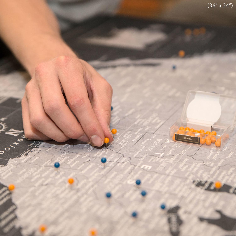 usa travel map pin board modern slate 3 panel 48 w x 32 h x