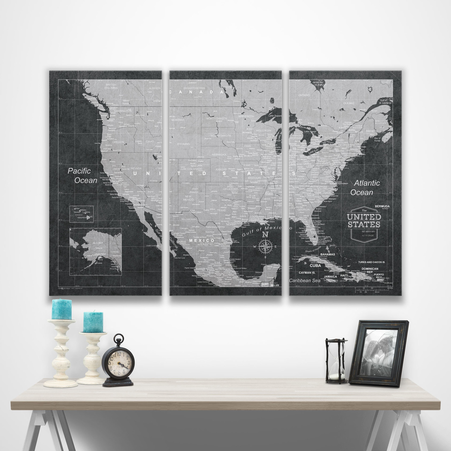 "USA Travel Map Pin Board // Modern Slate // 3 Panel (48""W x 32""H x ..."