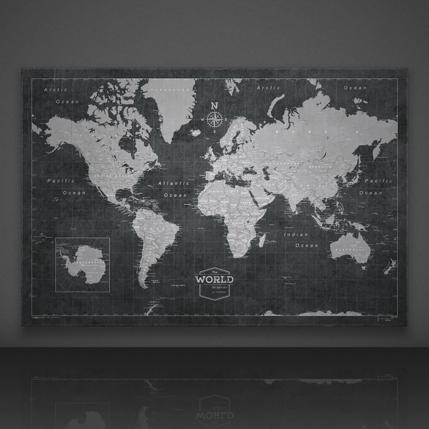 World travel map pin board modern slate 24w x 16h x 125d world travel map pin board modern slate 24w x 16 gumiabroncs Images