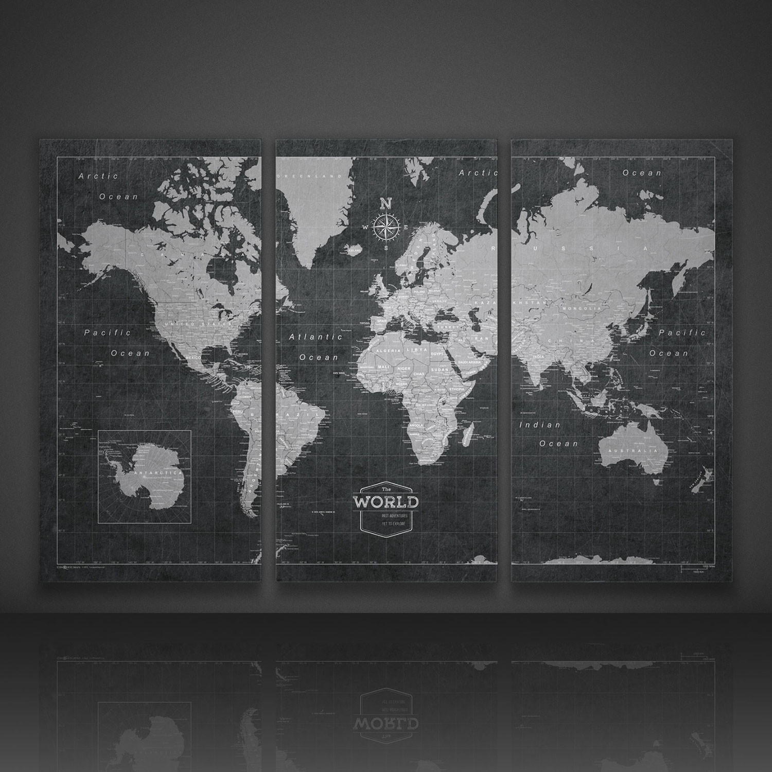 world travel map pin board modern slate 3 panel 54