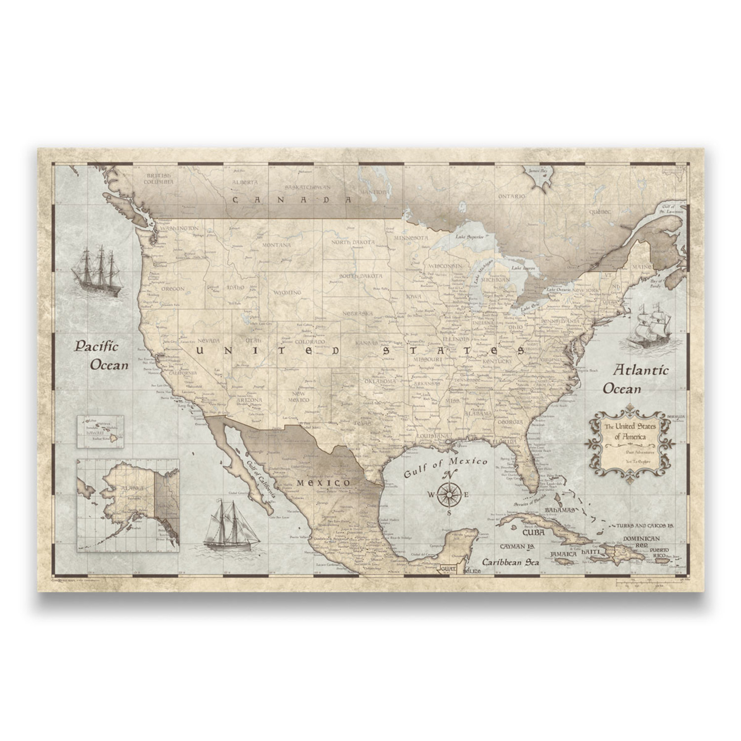 """USA Travel Map Pin Board // Rustic Vintage (24""""W x 16""""H x 1.25""""D ..."""