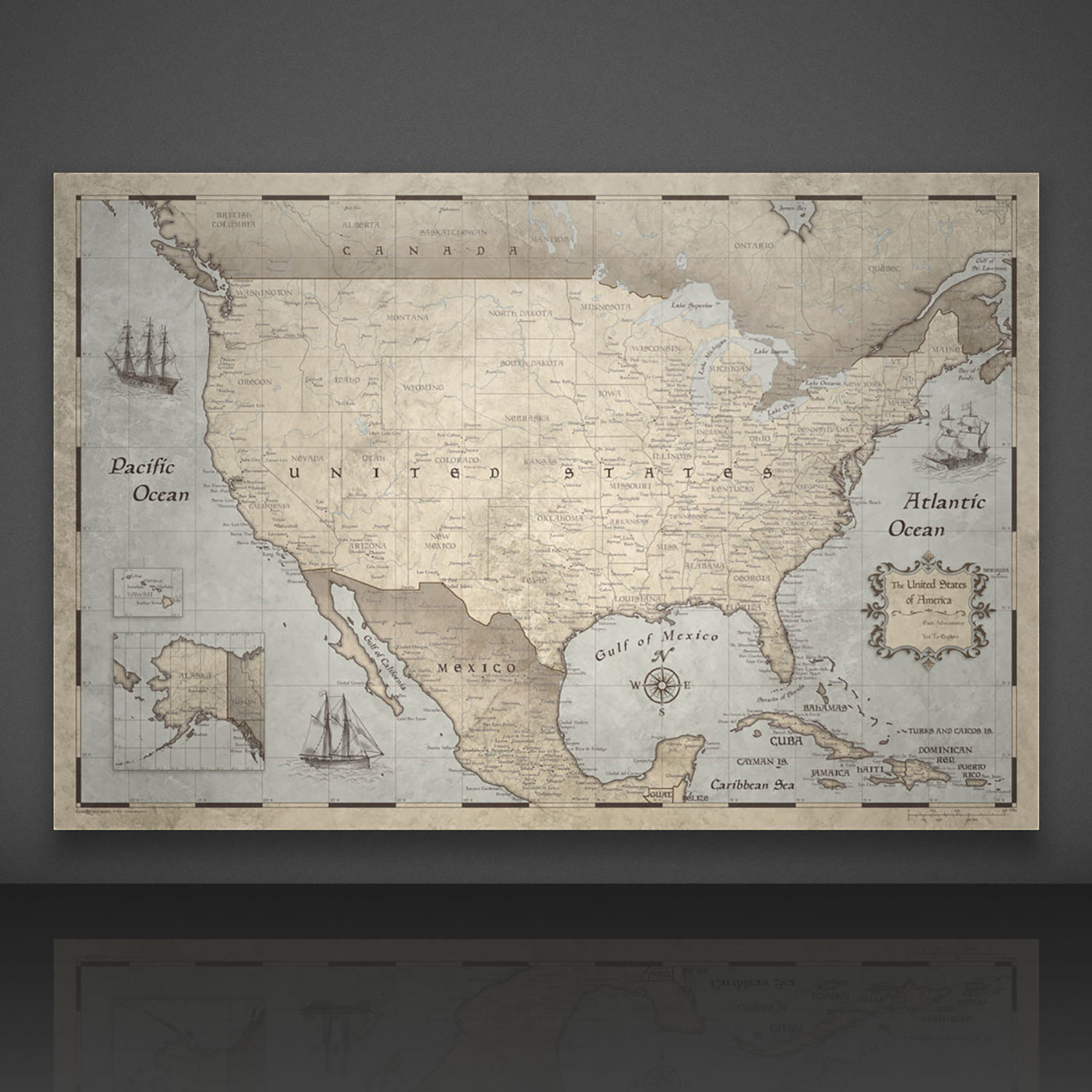 "USA Travel Map Pin Board // Rustic Vintage (24""W x 16""H x 1.25""D ..."
