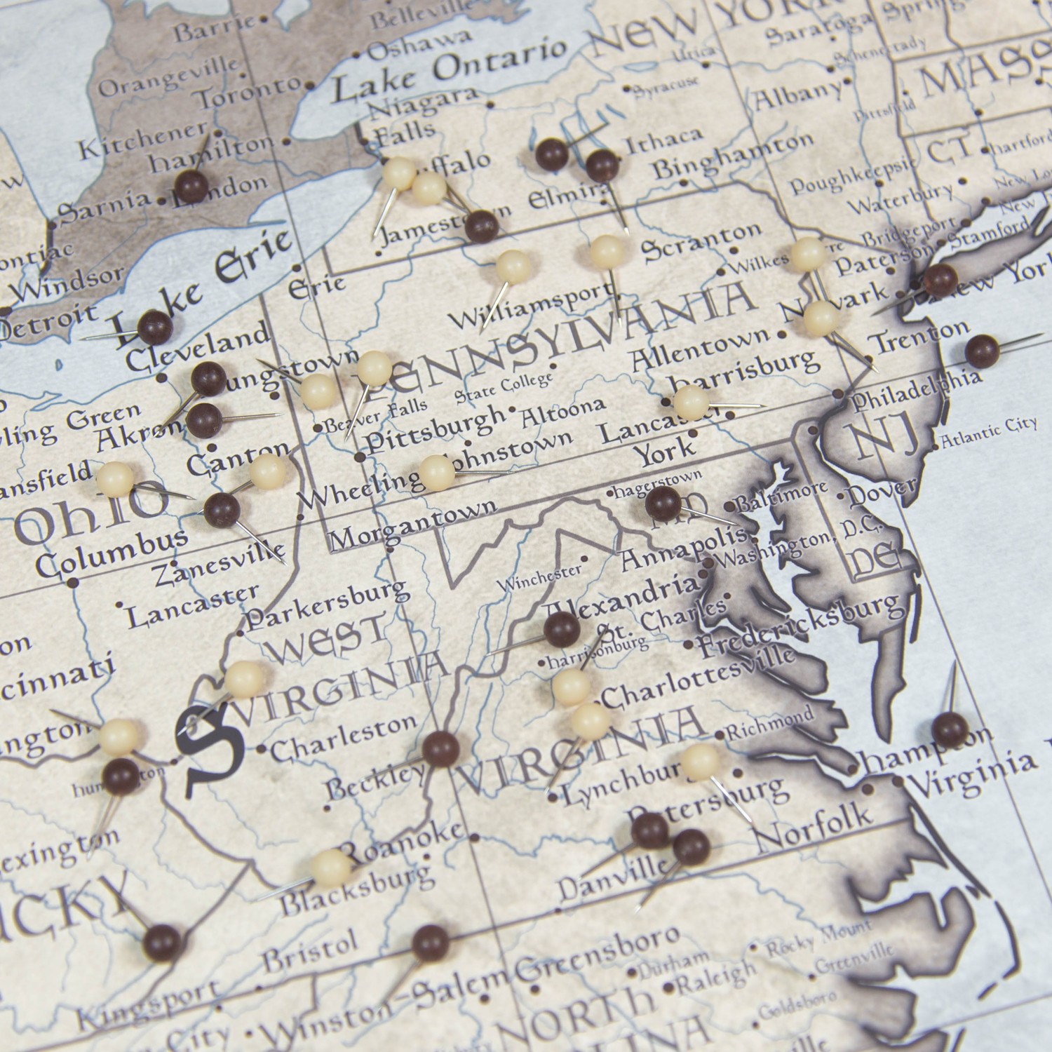 "USA Travel Map Pin Board // Rustic Vintage // 3 Panel (48""W x 32""H x ..."