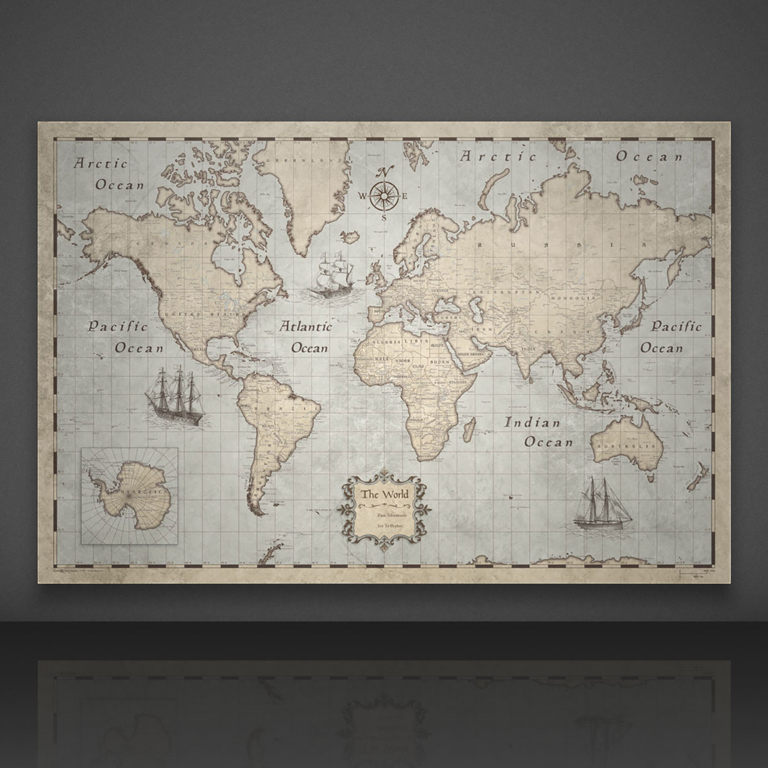 Large Paper World Map.World Map Pins Rustic Vintage 24 W X 16 H X 1 25 D Conquest