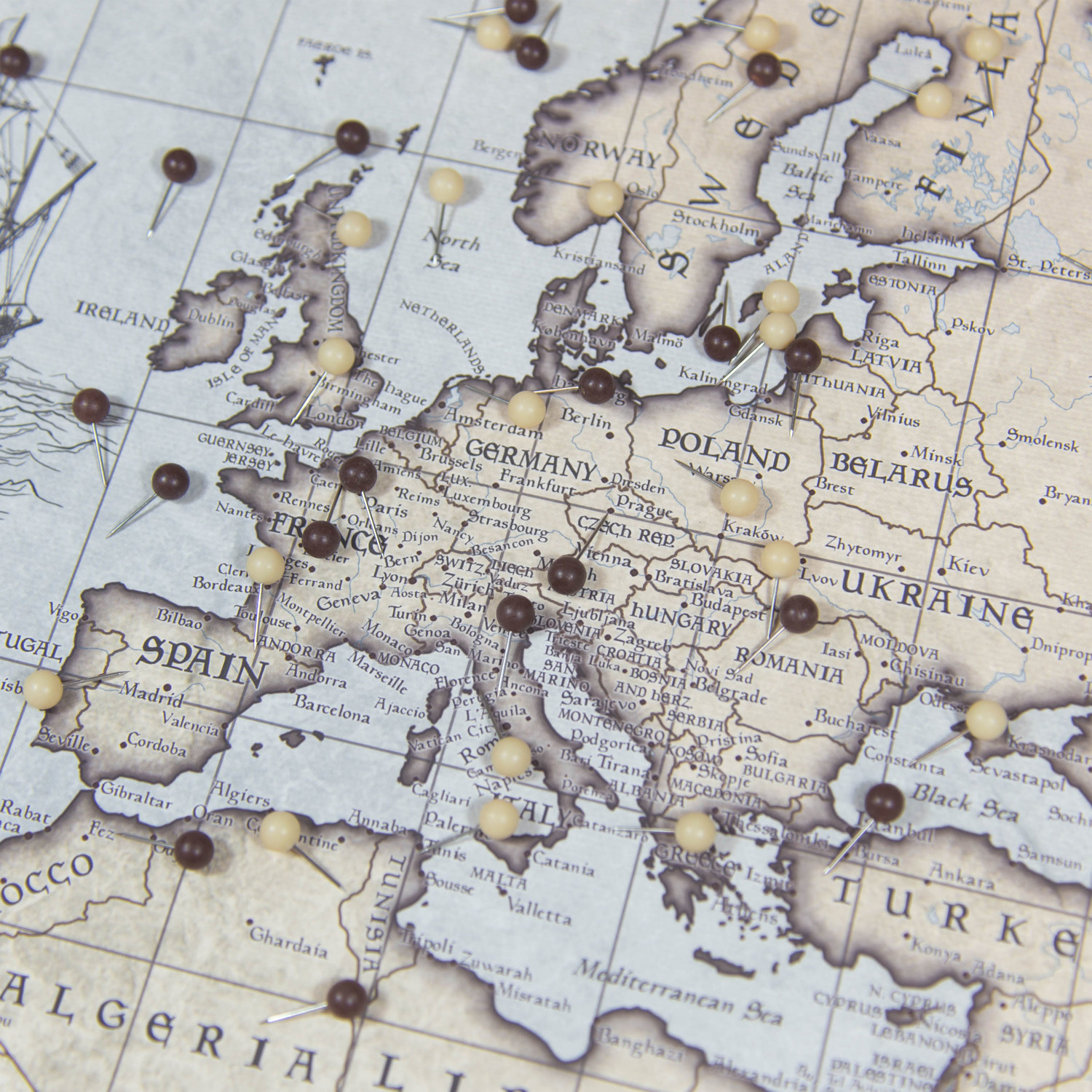 """World Travel Map Pin Board // Rustic Vintage // 3 Panel (48""""W x 32""""H ..."""