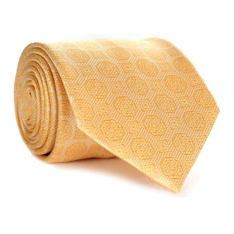 Tonal Paisley Tile Pattern Tie // Yellow