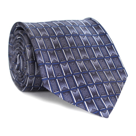 Square Pattern Tie // Grey + Blue