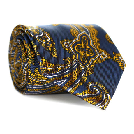 Large Paisley Tie // Gold + Navy