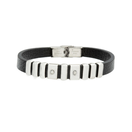 Multi-Links Leather Bracelet // Black + Silver