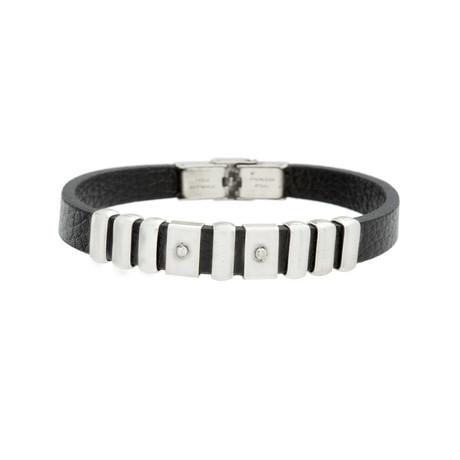 Multi-Links Leather Bracelet // Black + Silver