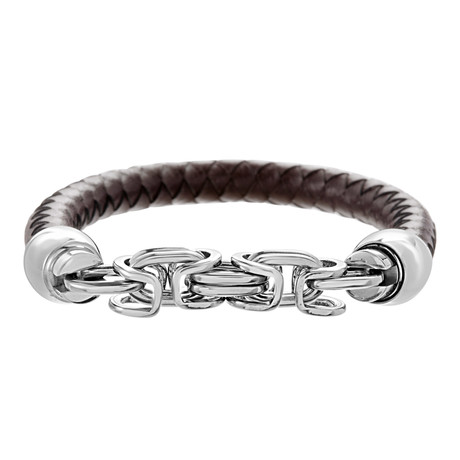 Double Link Leather Bracelet // Silver + Brown