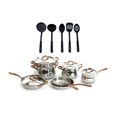 Ouro Gold Cookware + Nylon Tool 11-Piece Set