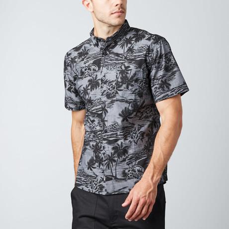 Hideaways Short-Sleeve Button-Up Shirt // Charcoal